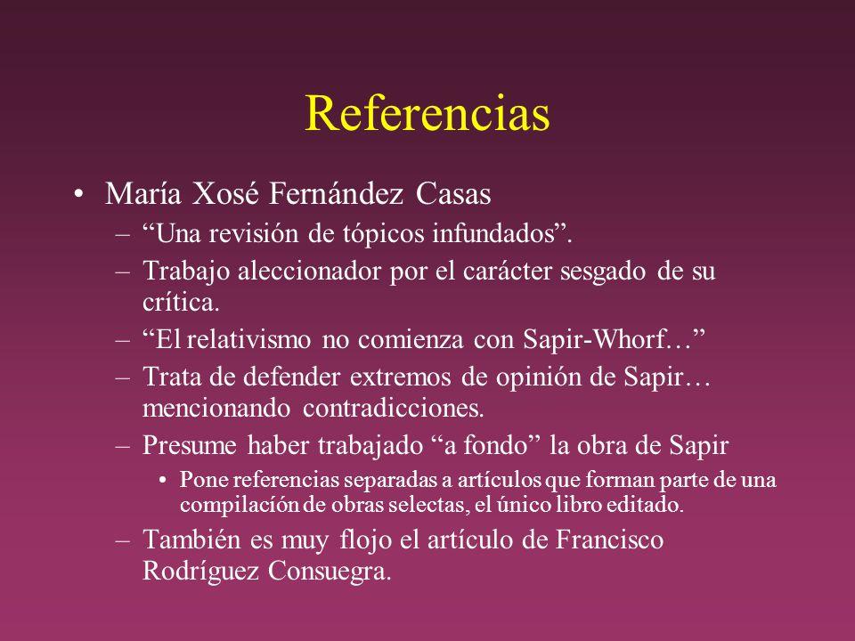 Referencias María Xosé Fernández Casas