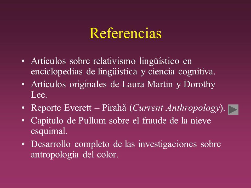 Referencias Artículos sobre relativismo lingüístico en enciclopedias de lingüística y ciencia cognitiva.