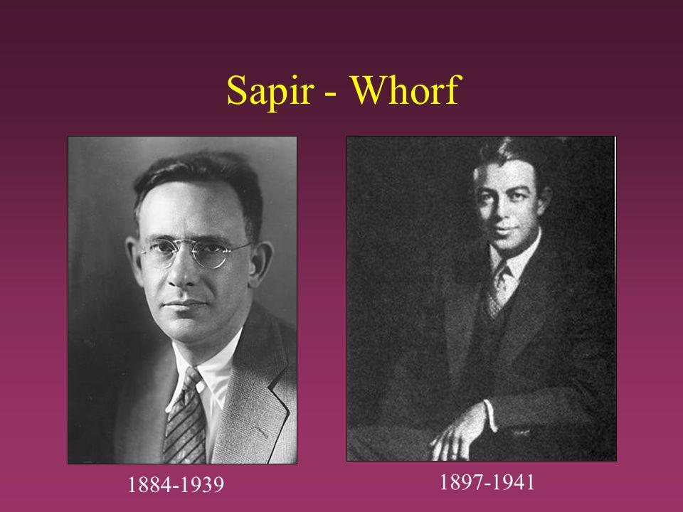 Sapir - Whorf 1884-1939 1897-1941