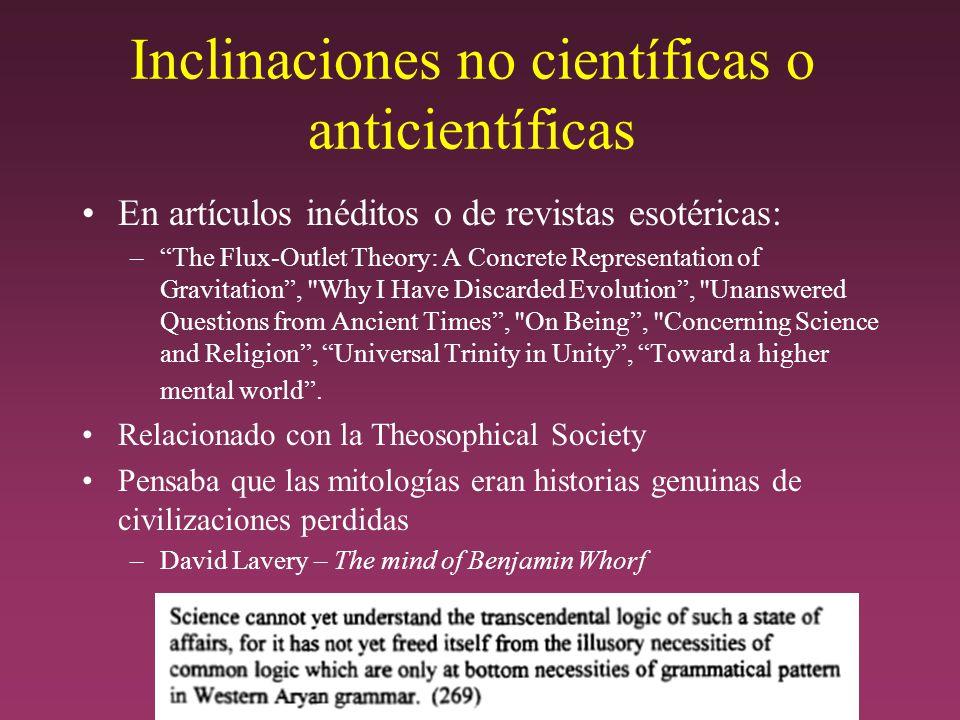 Inclinaciones no científicas o anticientíficas