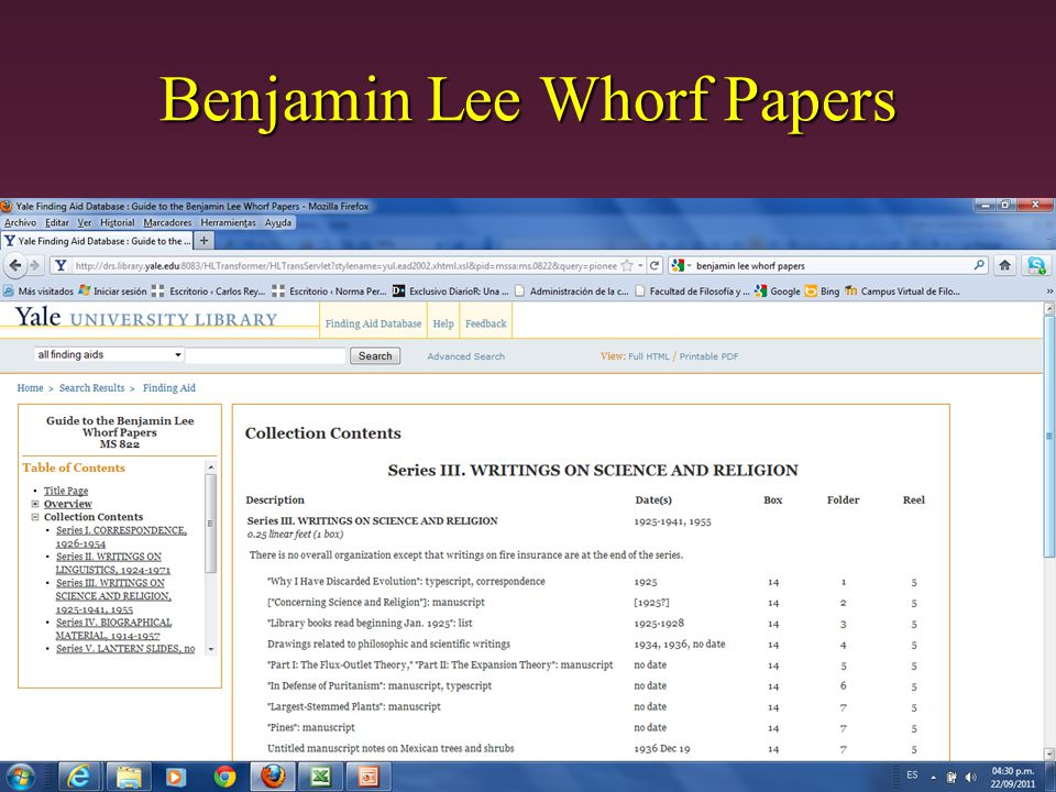 Benjamin Lee Whorf Papers