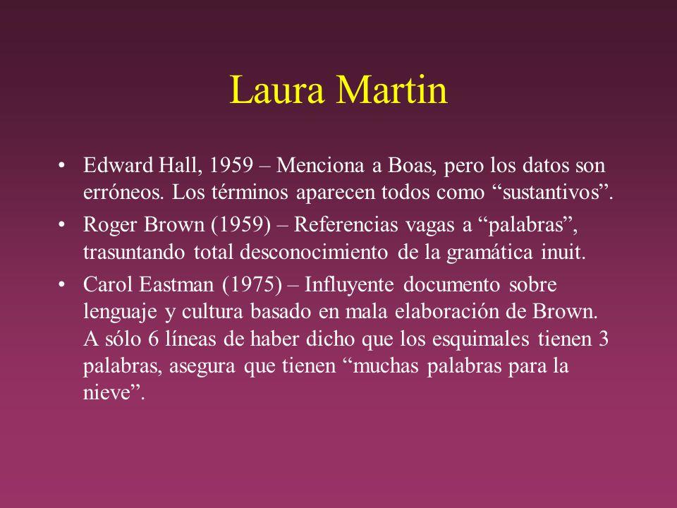 Laura Martin Edward Hall, 1959 – Menciona a Boas, pero los datos son erróneos. Los términos aparecen todos como sustantivos .