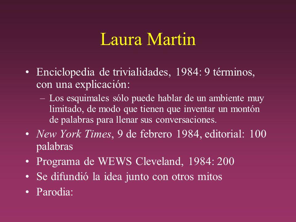 Laura Martin Enciclopedia de trivialidades, 1984: 9 términos, con una explicación: