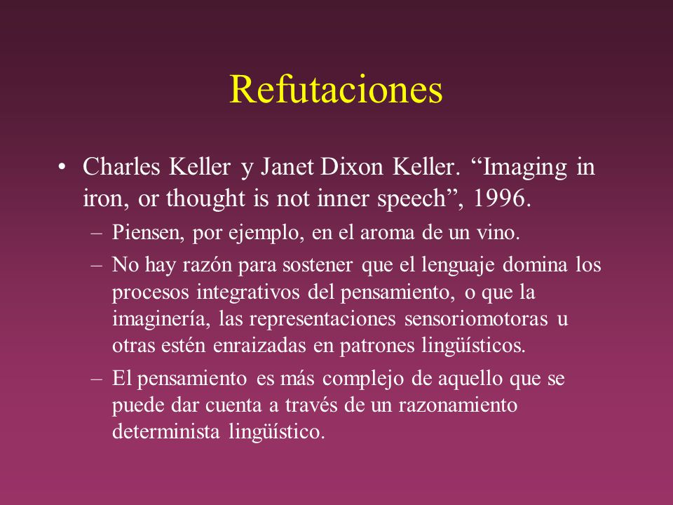 Refutaciones Charles Keller y Janet Dixon Keller. Imaging in iron, or thought is not inner speech , 1996.