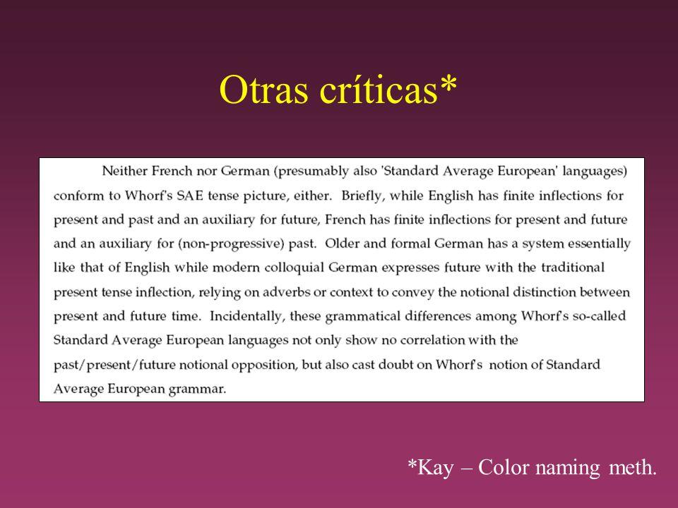 Otras críticas* *Kay – Color naming meth.