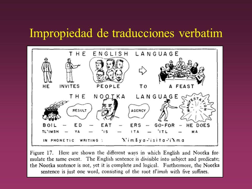 Impropiedad de traducciones verbatim