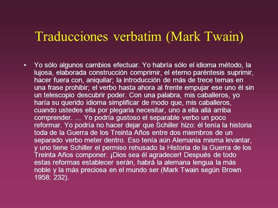 Traducciones verbatim (Mark Twain)