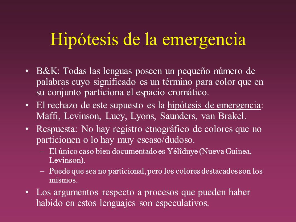 Hipótesis de la emergencia