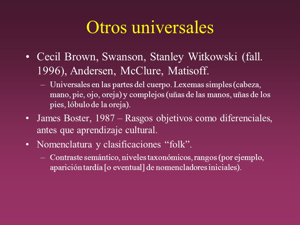 Otros universales Cecil Brown, Swanson, Stanley Witkowski (fall. 1996), Andersen, McClure, Matisoff.