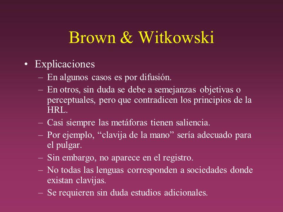 Brown & Witkowski Explicaciones En algunos casos es por difusión.