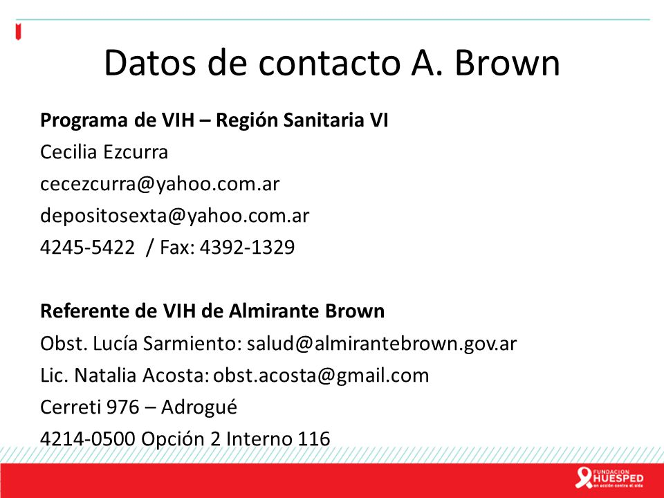 Datos de contacto A. Brown
