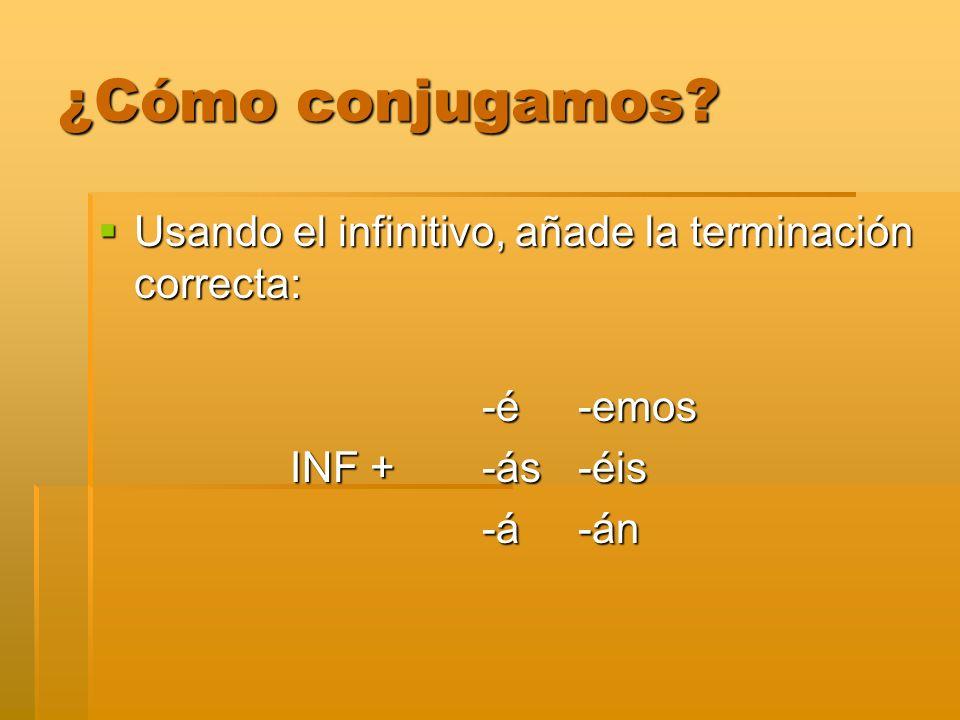 ¿Cómo conjugamos Usando el infinitivo, añade la terminación correcta: