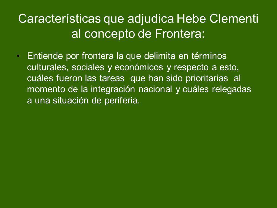 Características que adjudica Hebe Clementi al concepto de Frontera: