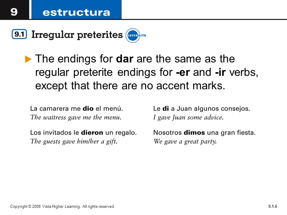The endings for dar are the same as the regular preterite endings for -er and -ir verbs, except that there are no accent marks.