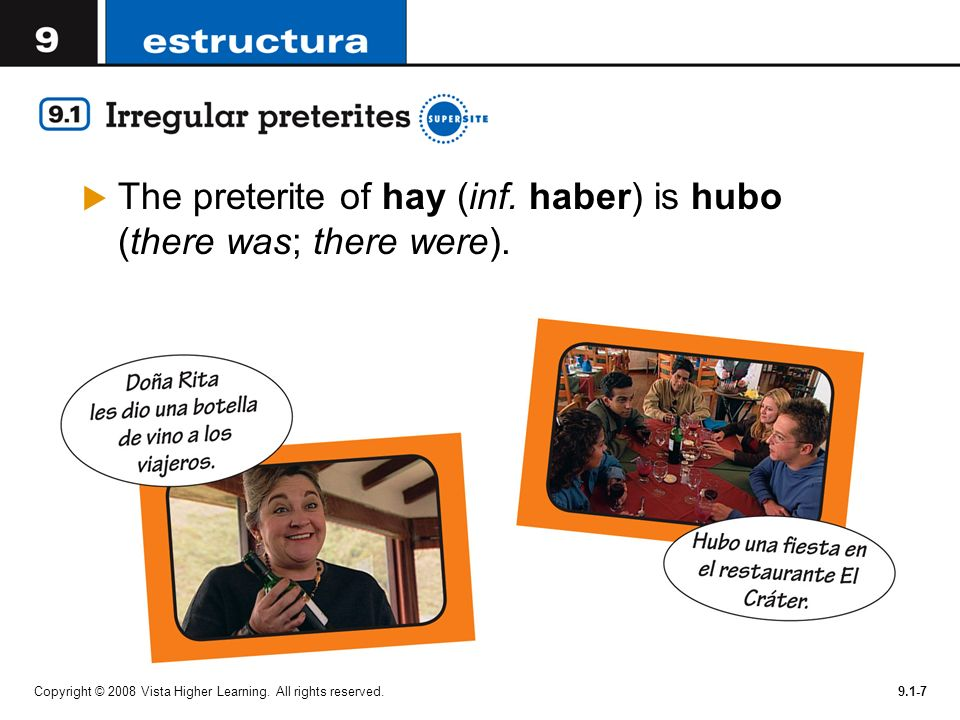 The preterite of hay (inf. haber) is hubo (there was; there were).