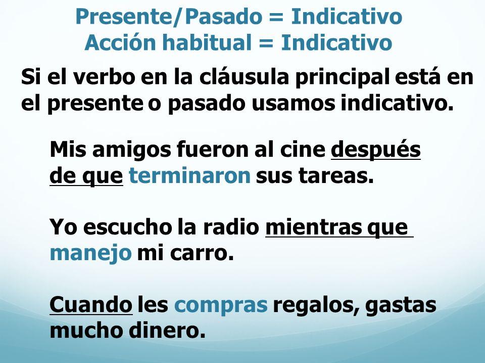 Presente/Pasado = Indicativo Acción habitual = Indicativo