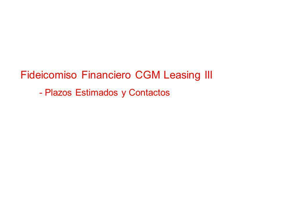 Fideicomiso Financiero CGM Leasing III - Plazos Estimados y Contactos