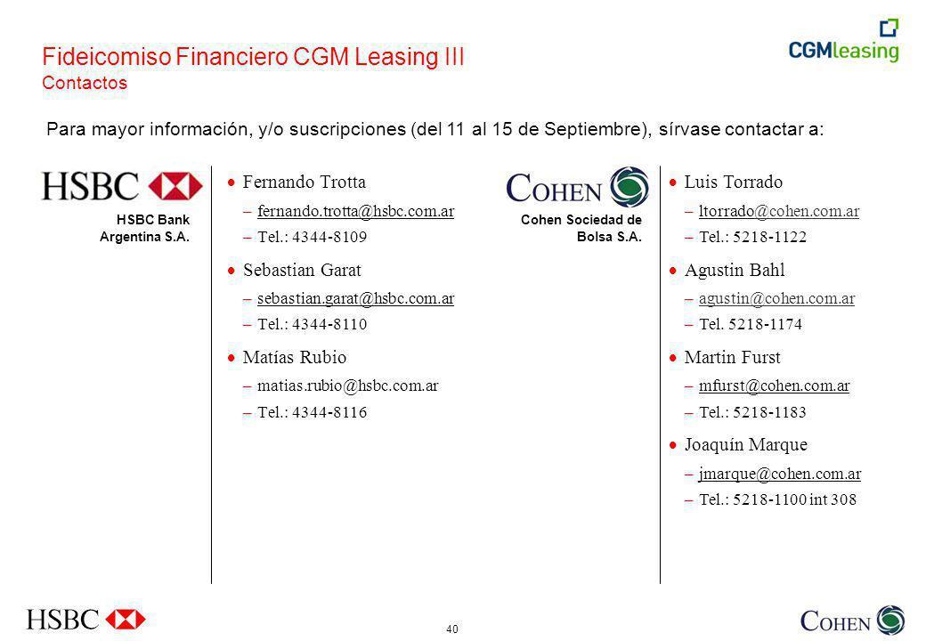 Fideicomiso Financiero CGM Leasing III Contactos