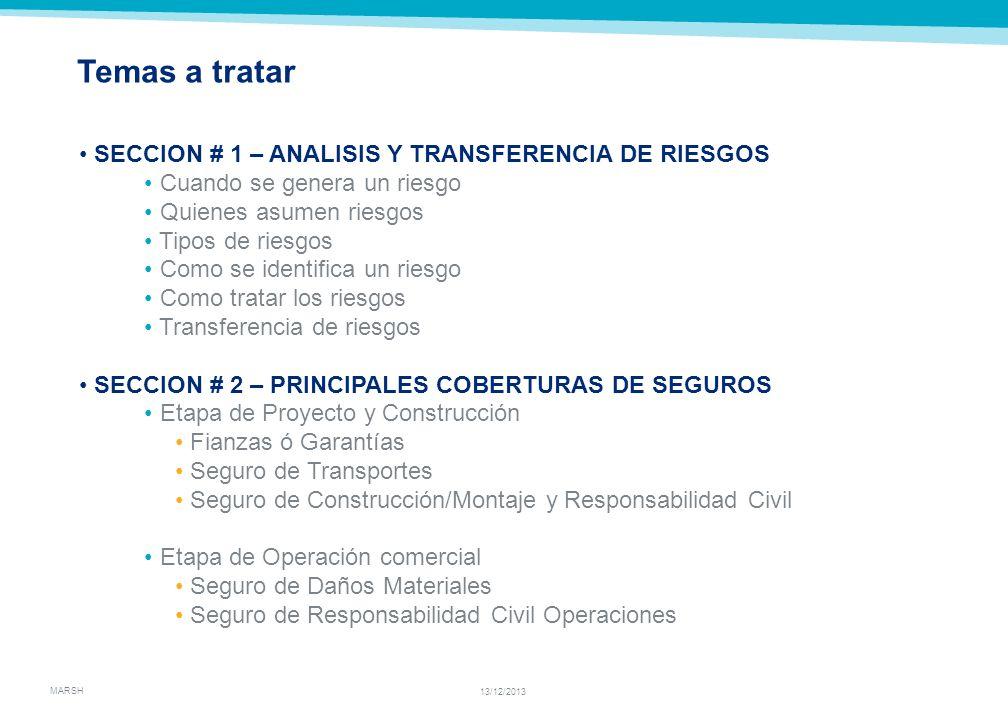 Temas a tratar SECCION # 1 – ANALISIS Y TRANSFERENCIA DE RIESGOS