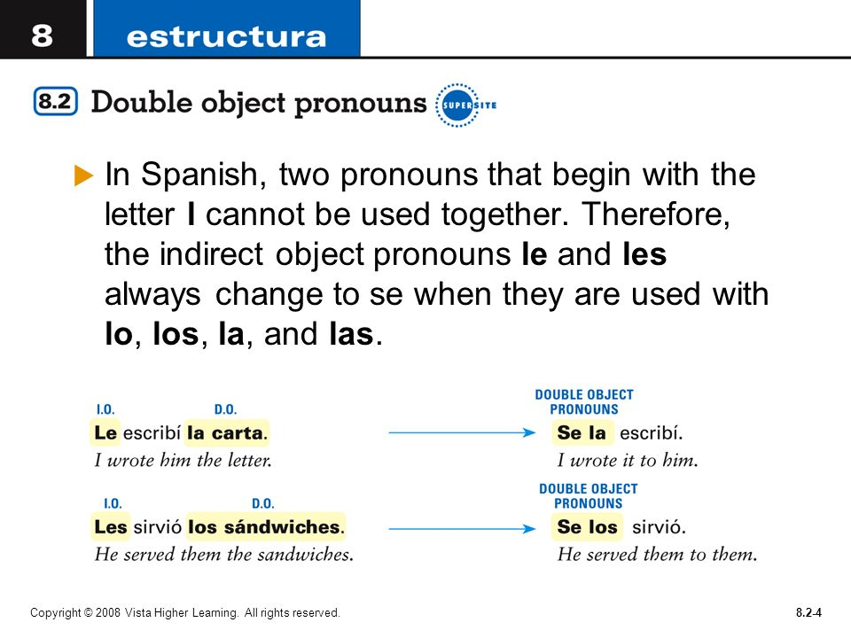 In Spanish, two pronouns that begin with the letter l cannot be used together. Therefore, the indirect object pronouns le and les always change to se when they are used with lo, los, la, and las.