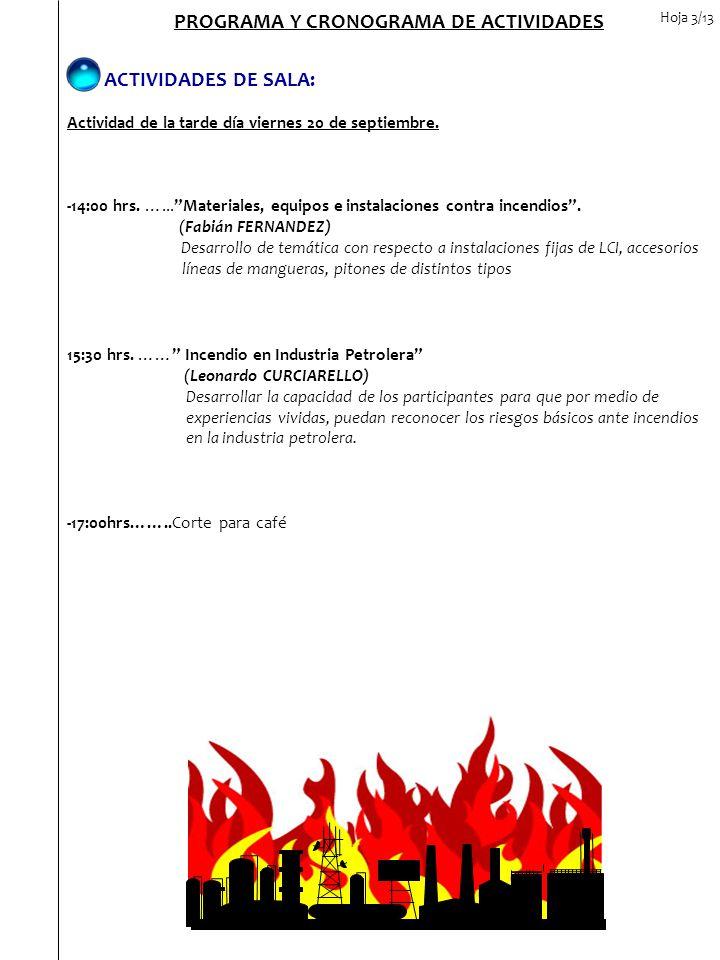 PROGRAMA Y CRONOGRAMA DE ACTIVIDADES