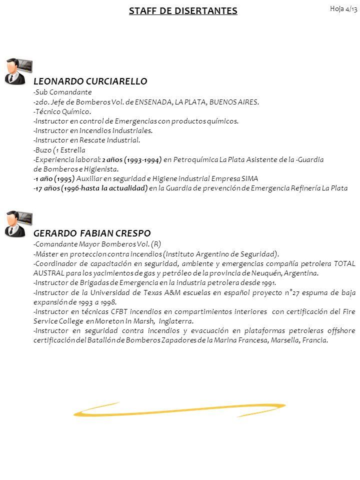 STAFF DE DISERTANTES LEONARDO CURCIARELLO GERARDO FABIAN CRESPO