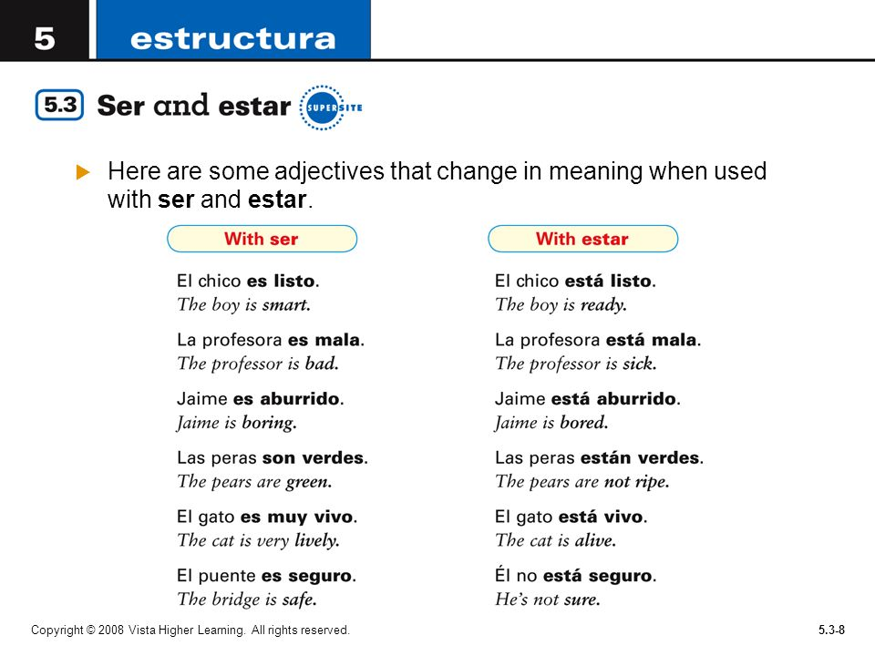 Here are some adjectives that change in meaning when used with ser and estar.