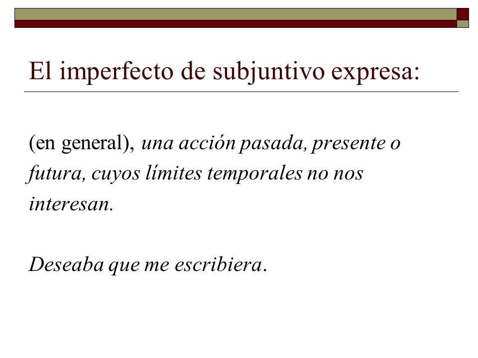 El imperfecto de subjuntivo expresa: