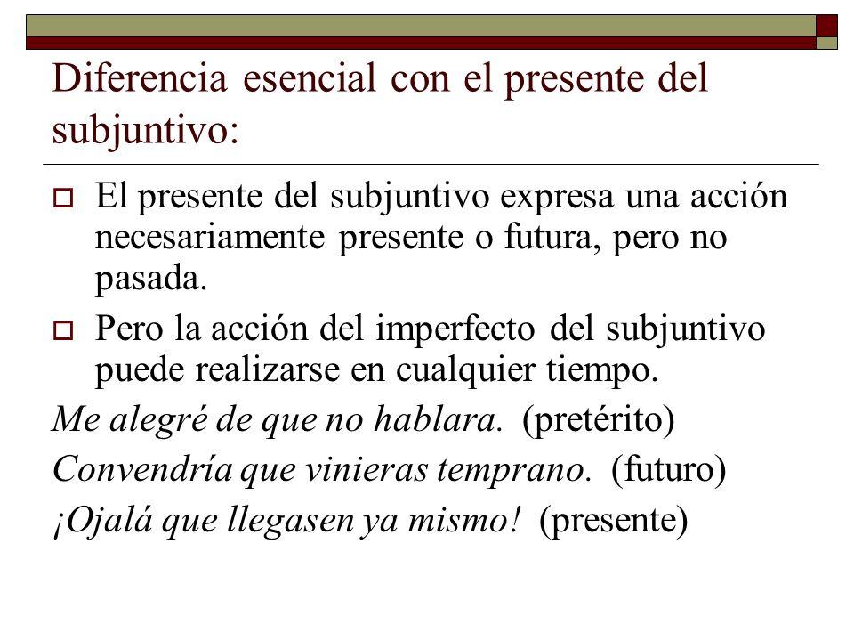 Diferencia esencial con el presente del subjuntivo: