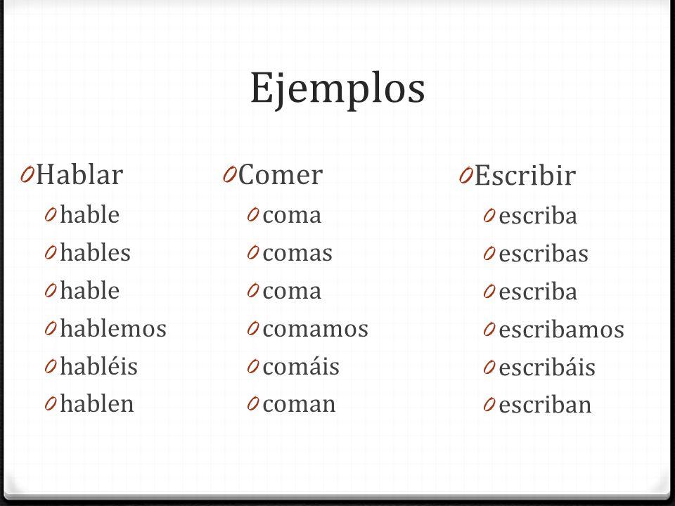 Ejemplos Hablar Comer Escribir hable hables hablemos habléis hablen