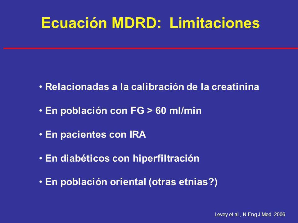 Ecuación MDRD: Limitaciones