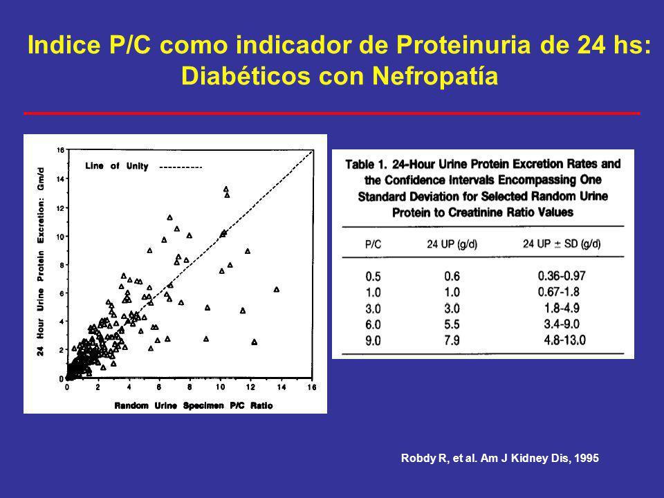 Indice P/C como indicador de Proteinuria de 24 hs:
