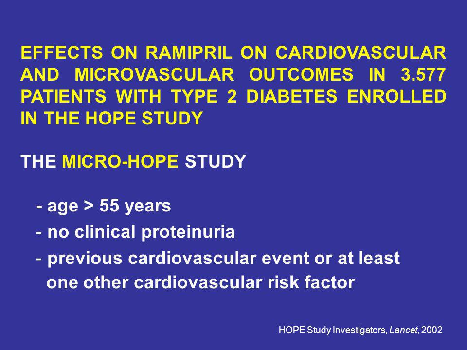no clinical proteinuria previous cardiovascular event or at least
