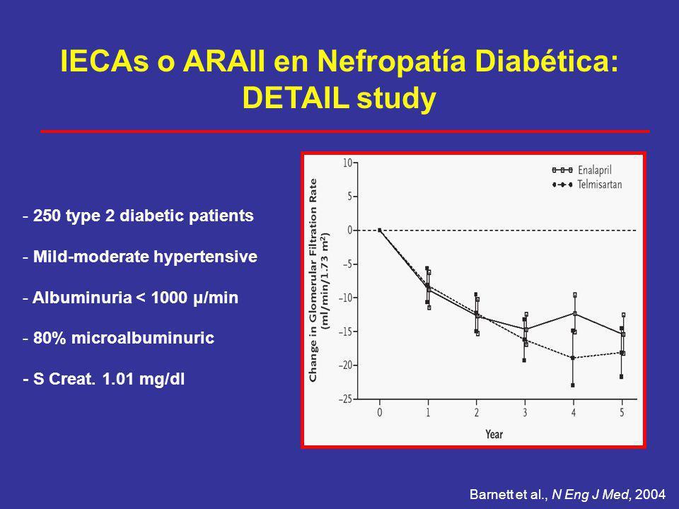 IECAs o ARAII en Nefropatía Diabética: DETAIL study