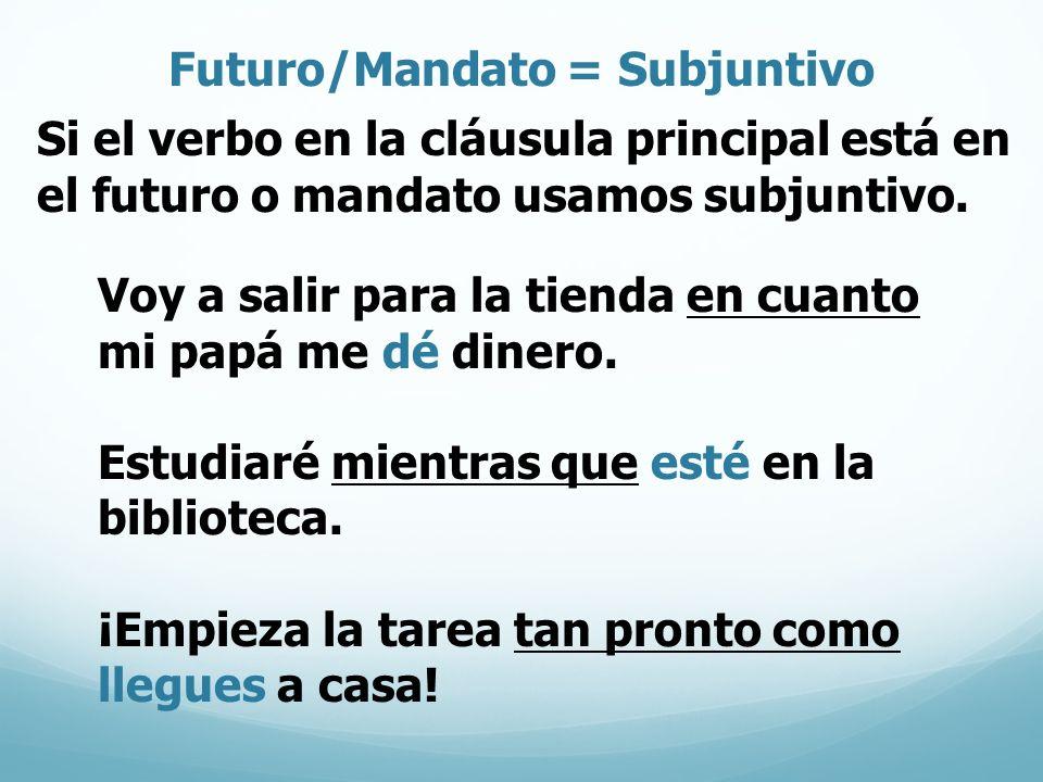 Futuro/Mandato = Subjuntivo