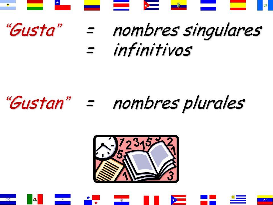 Gusta = nombres singulares = infinitivos
