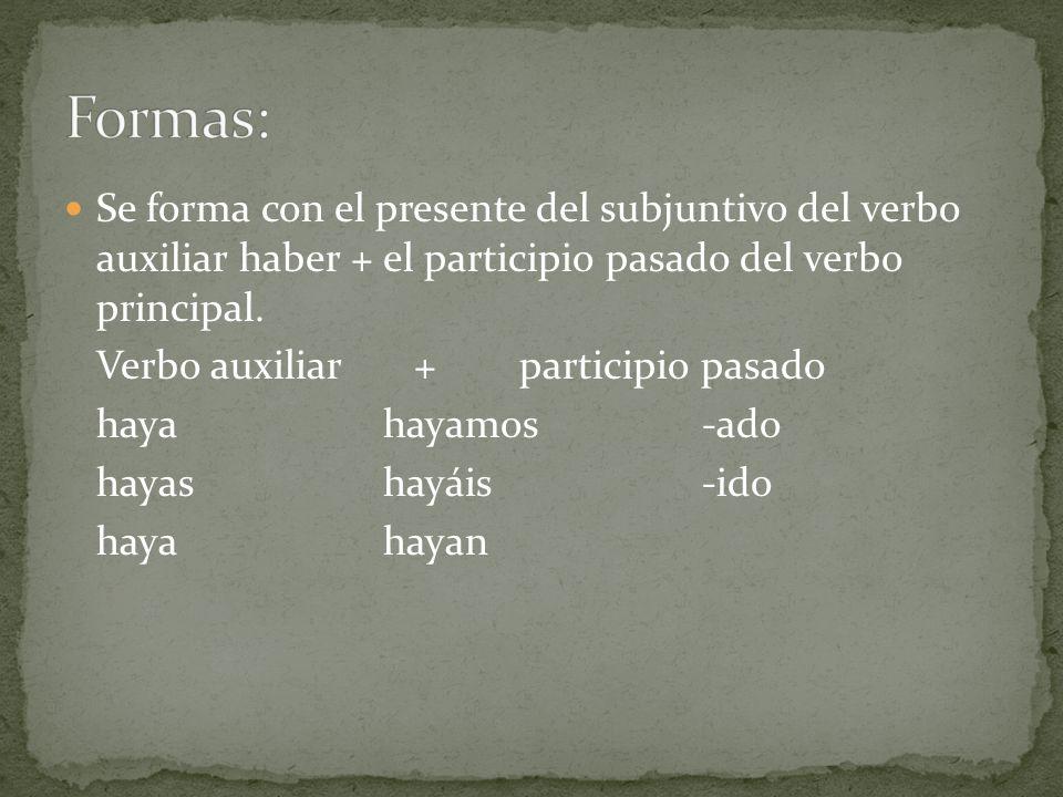 Formas: Se forma con el presente del subjuntivo del verbo auxiliar haber + el participio pasado del verbo principal.