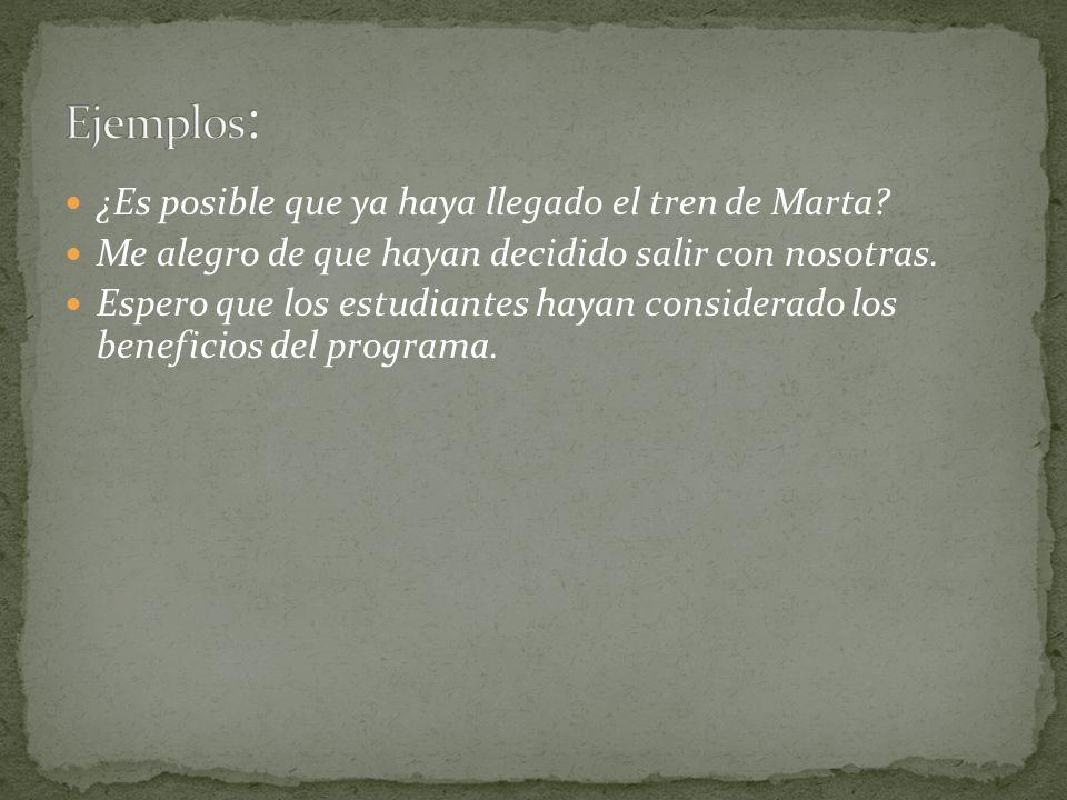 Ejemplos: ¿Es posible que ya haya llegado el tren de Marta