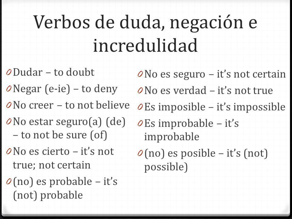 Verbos de duda, negación e incredulidad