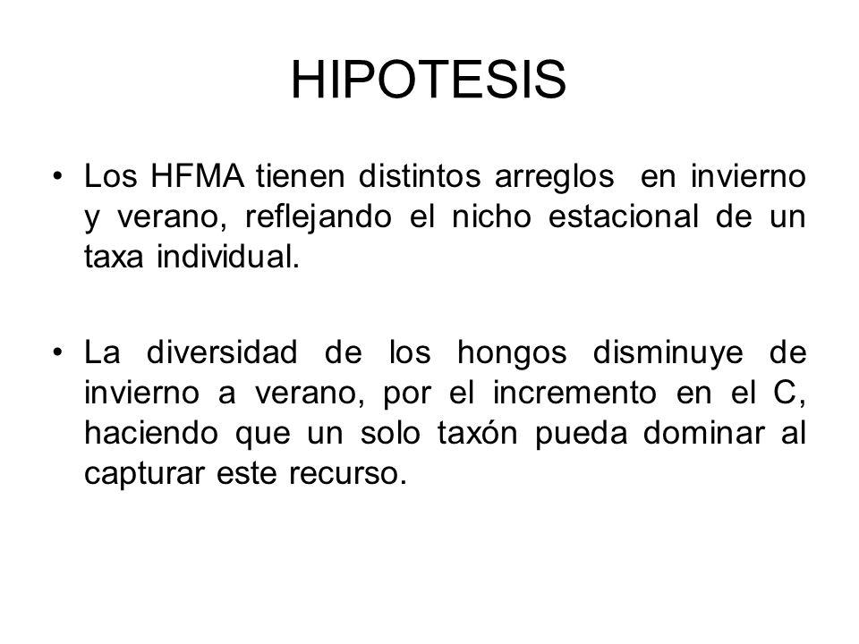 HIPOTESISLos HFMA tienen distintos arreglos en invierno y verano, reflejando el nicho estacional de un taxa individual.
