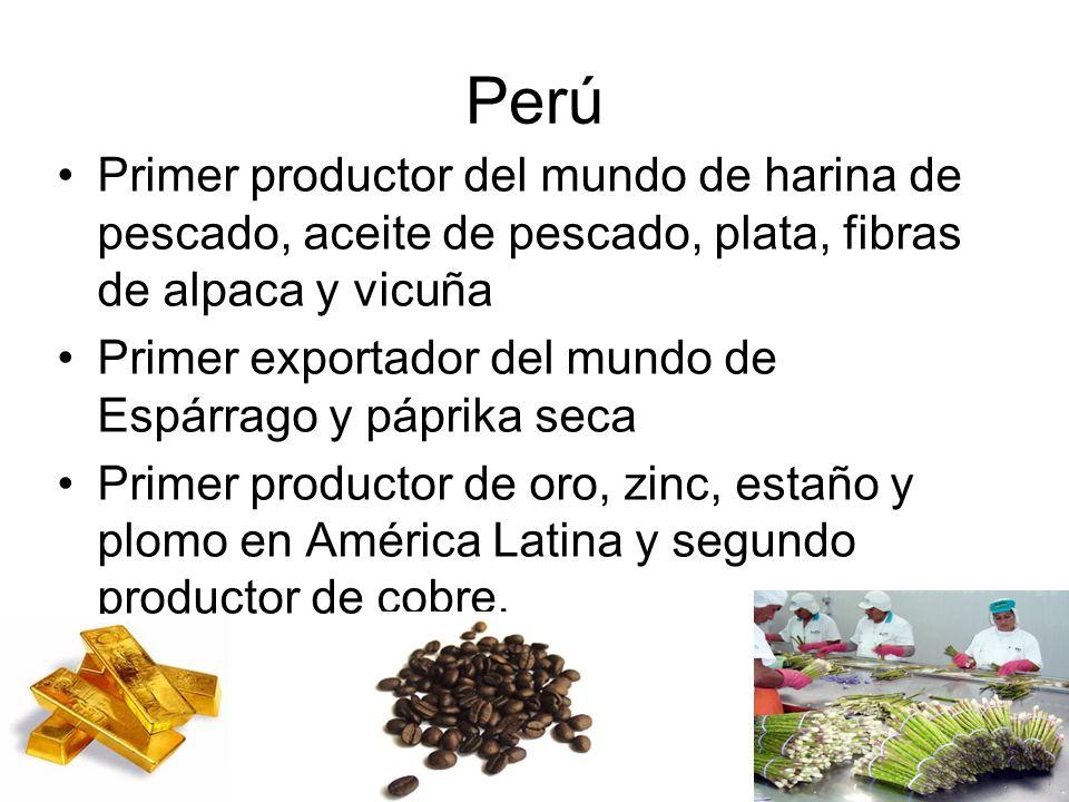 Perú Primer productor del mundo de harina de pescado, aceite de pescado, plata, fibras de alpaca y vicuña.