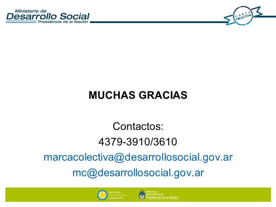 MUCHAS GRACIAS Contactos: 4379-3910/3610. marcacolectiva@desarrollosocial.gov.ar.