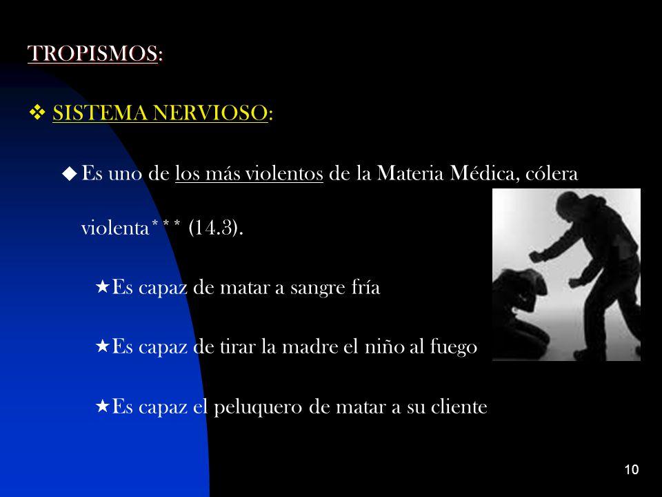TROPISMOS: SISTEMA NERVIOSO: Es uno de los más violentos de la Materia Médica, cólera violenta*** (14.3).