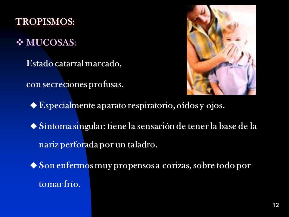 TROPISMOS: MUCOSAS: Estado catarral marcado, con secreciones profusas. Especialmente aparato respiratorio, oídos y ojos.