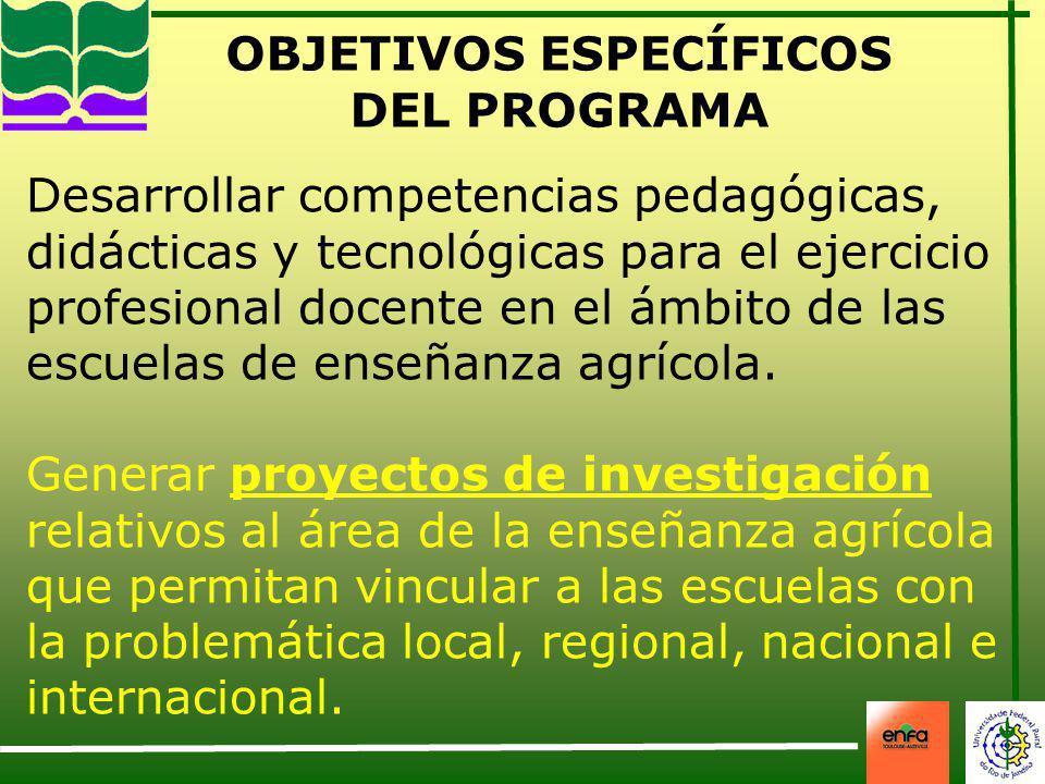 OBJETIVOS ESPECÍFICOS DEL PROGRAMA