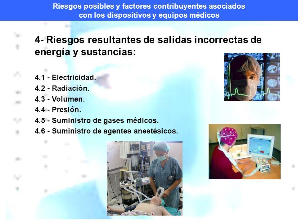 4- Riesgos resultantes de salidas incorrectas de energía y sustancias: