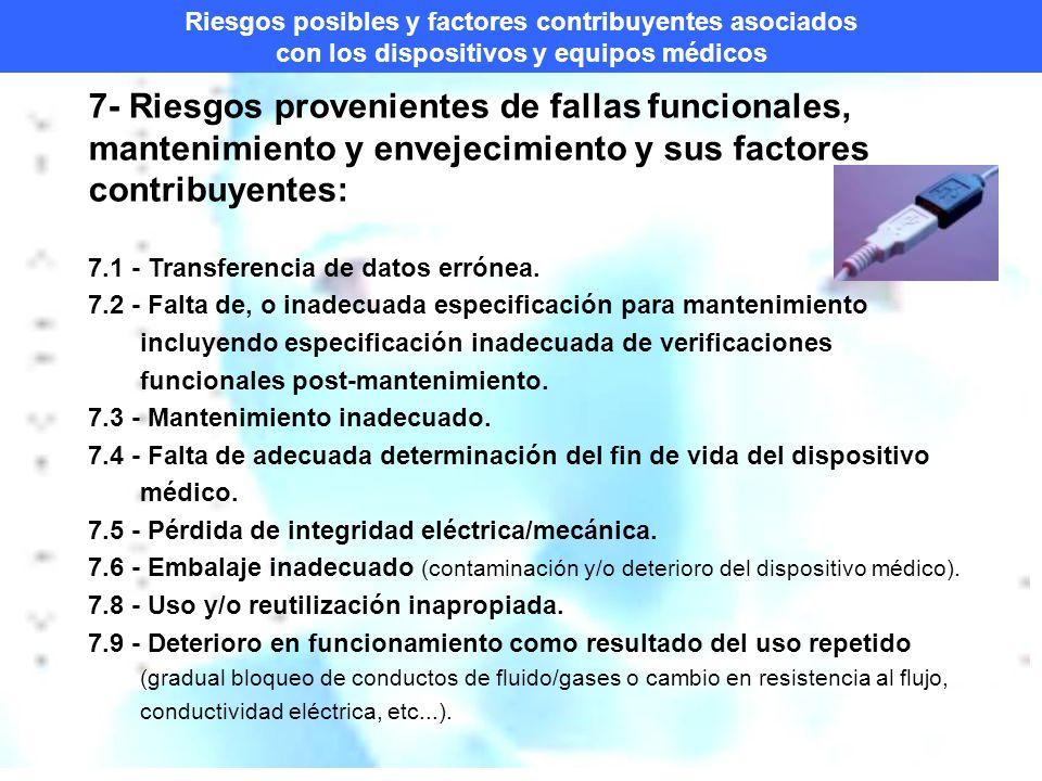 Riesgos posibles y factores contribuyentes asociados