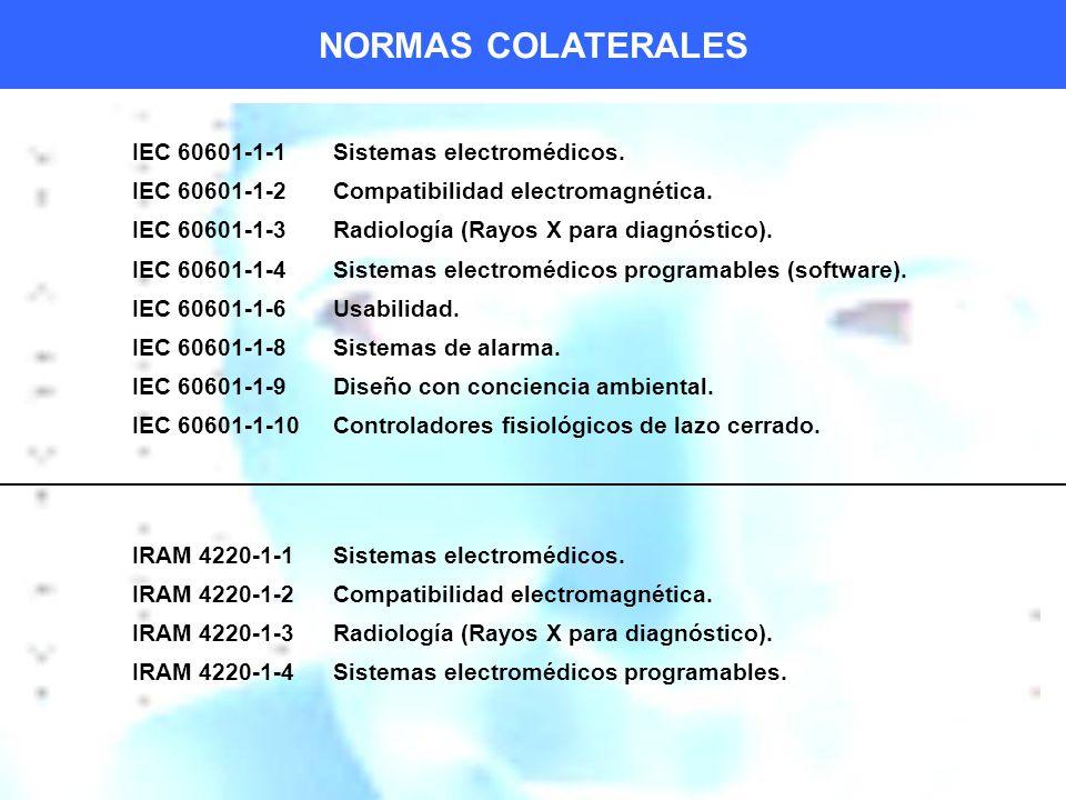 NORMAS COLATERALES IEC 60601-1-1 Sistemas electromédicos.