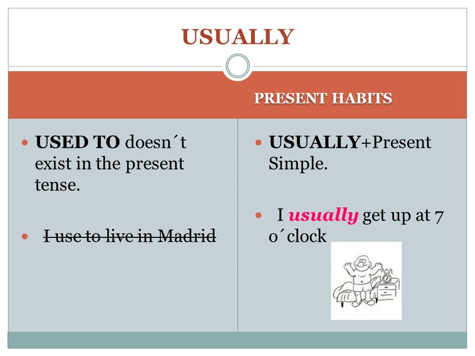 USUALLY USED TO doesn´t exist in the present tense.