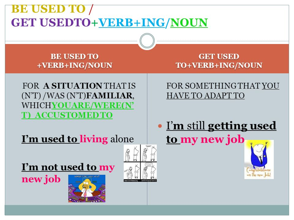 BE USED TO / GET USEDTO+VERB+ING/NOUN